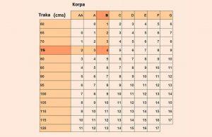 tabela za odredjivanje velicine grudne proteze